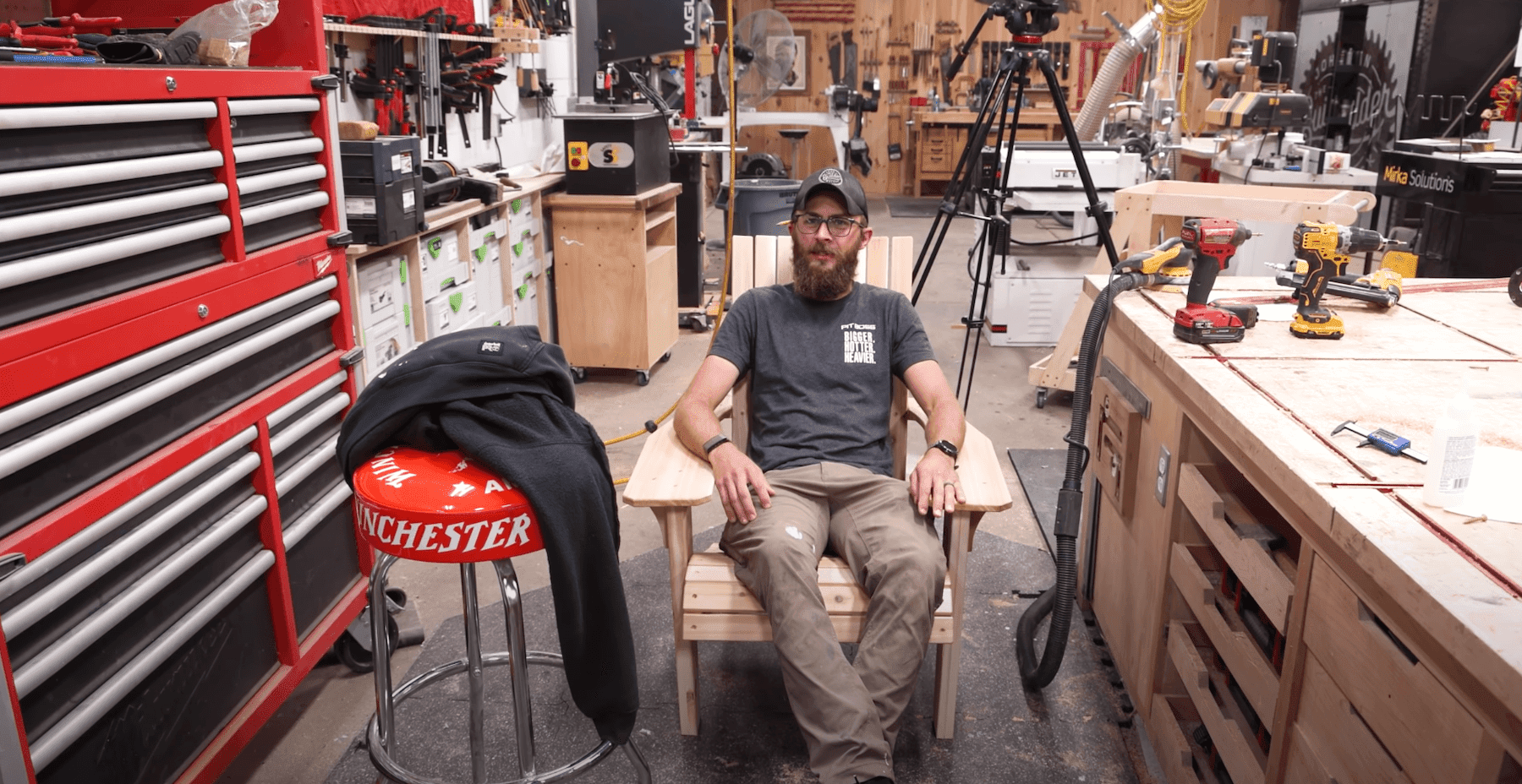 Sam sitting in his chair build