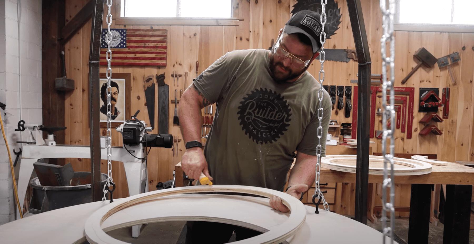 John Malecki building an adult bouncer