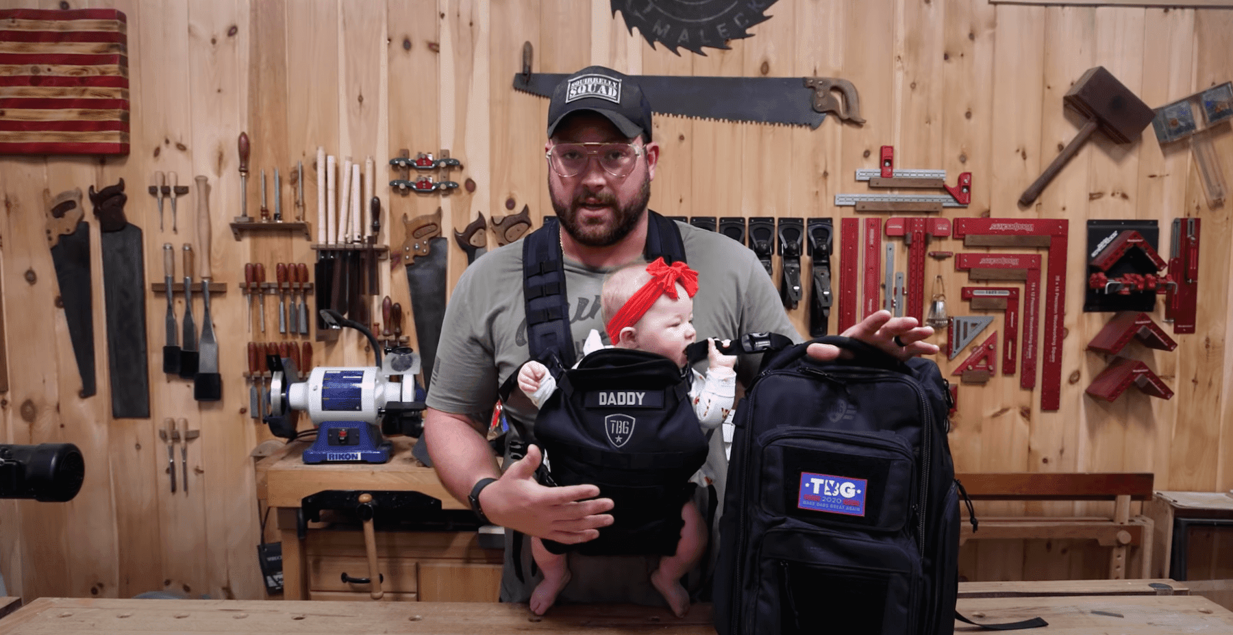 John Malecki and his daughter using Tactical Baby Gear