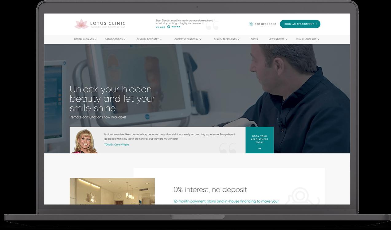 Lotus Clinic website design on laptop