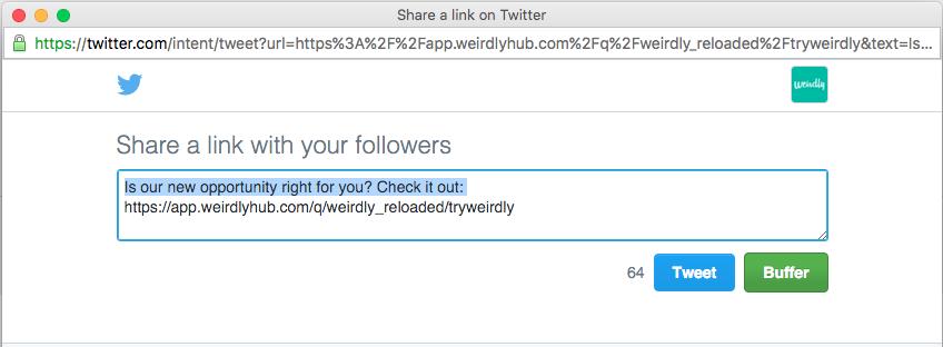 Buffer twitter share button