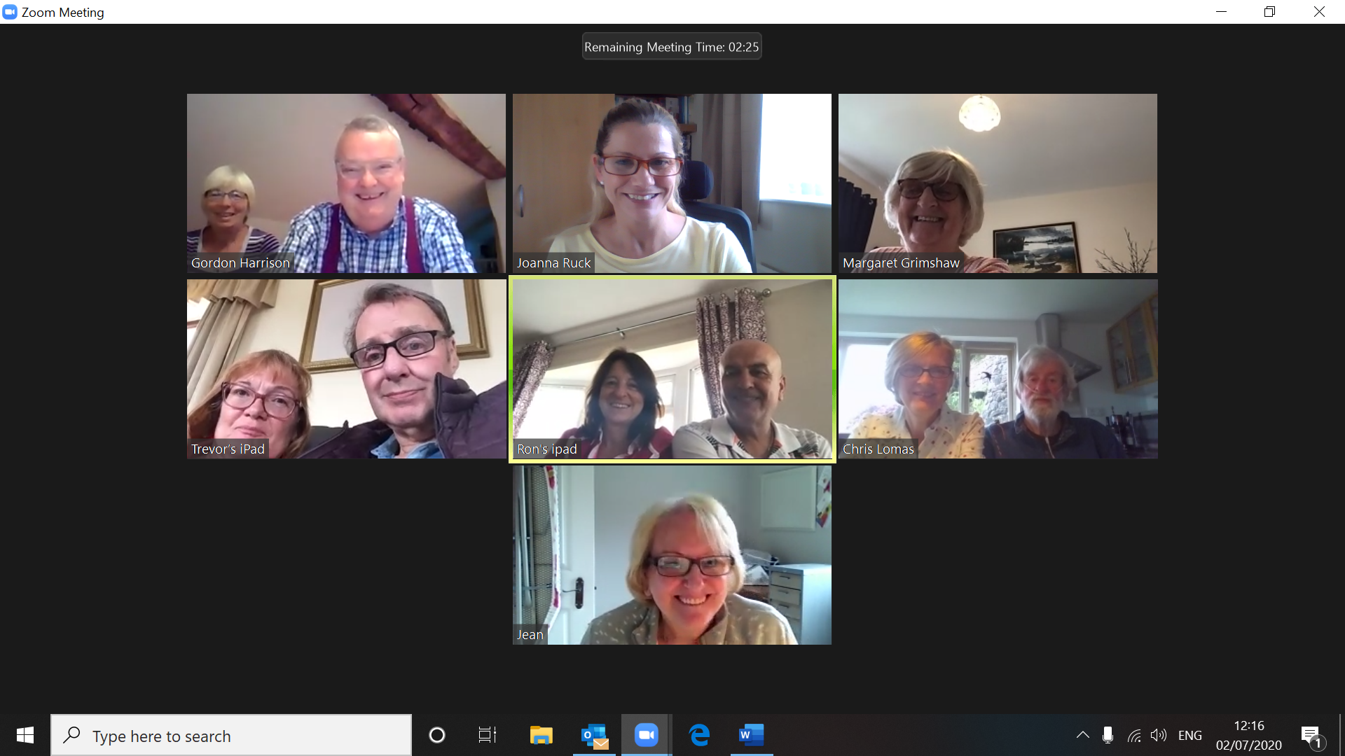 Screenshot of Sheffield Pulmonary Fibrosis Support Group Zoom Meeting Thursday 2nd July 2020