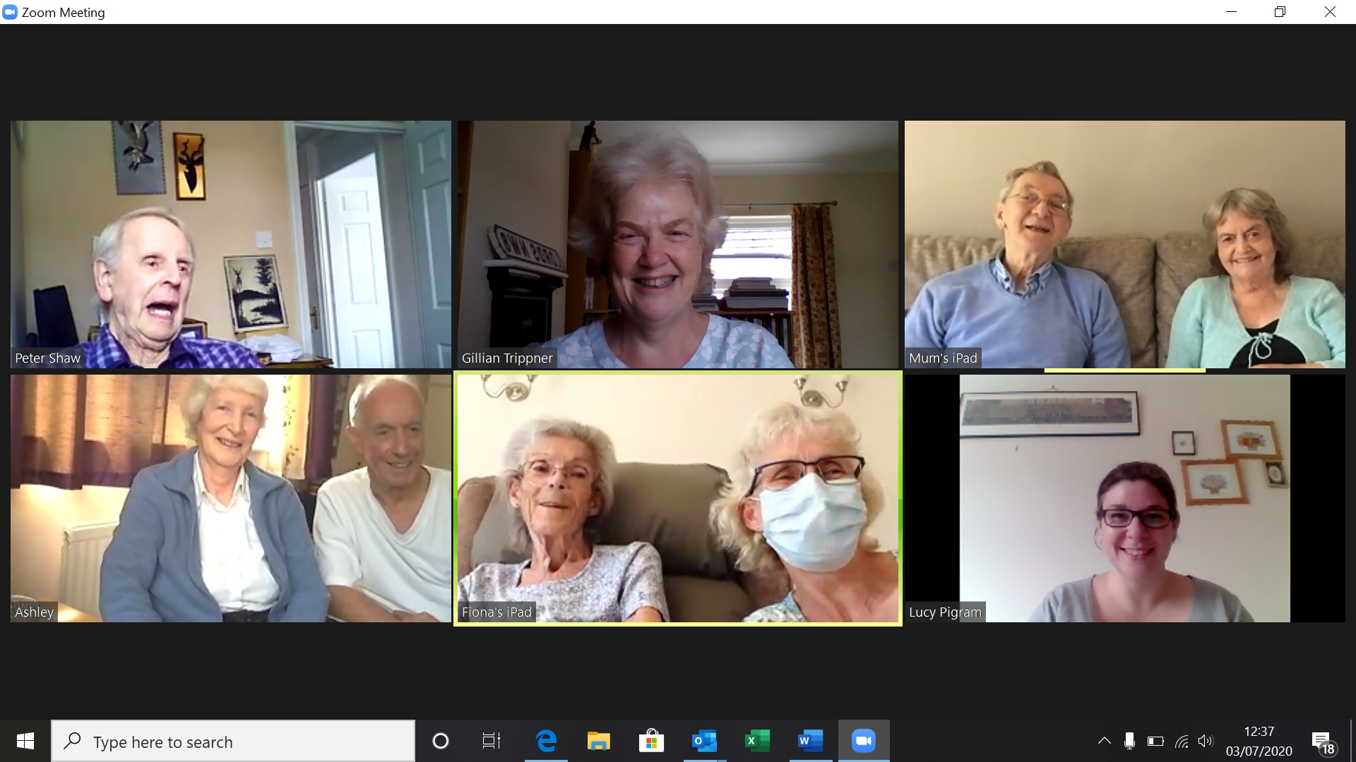 Screenshot of members of the Mid-Essex Support Group 3 July 2020