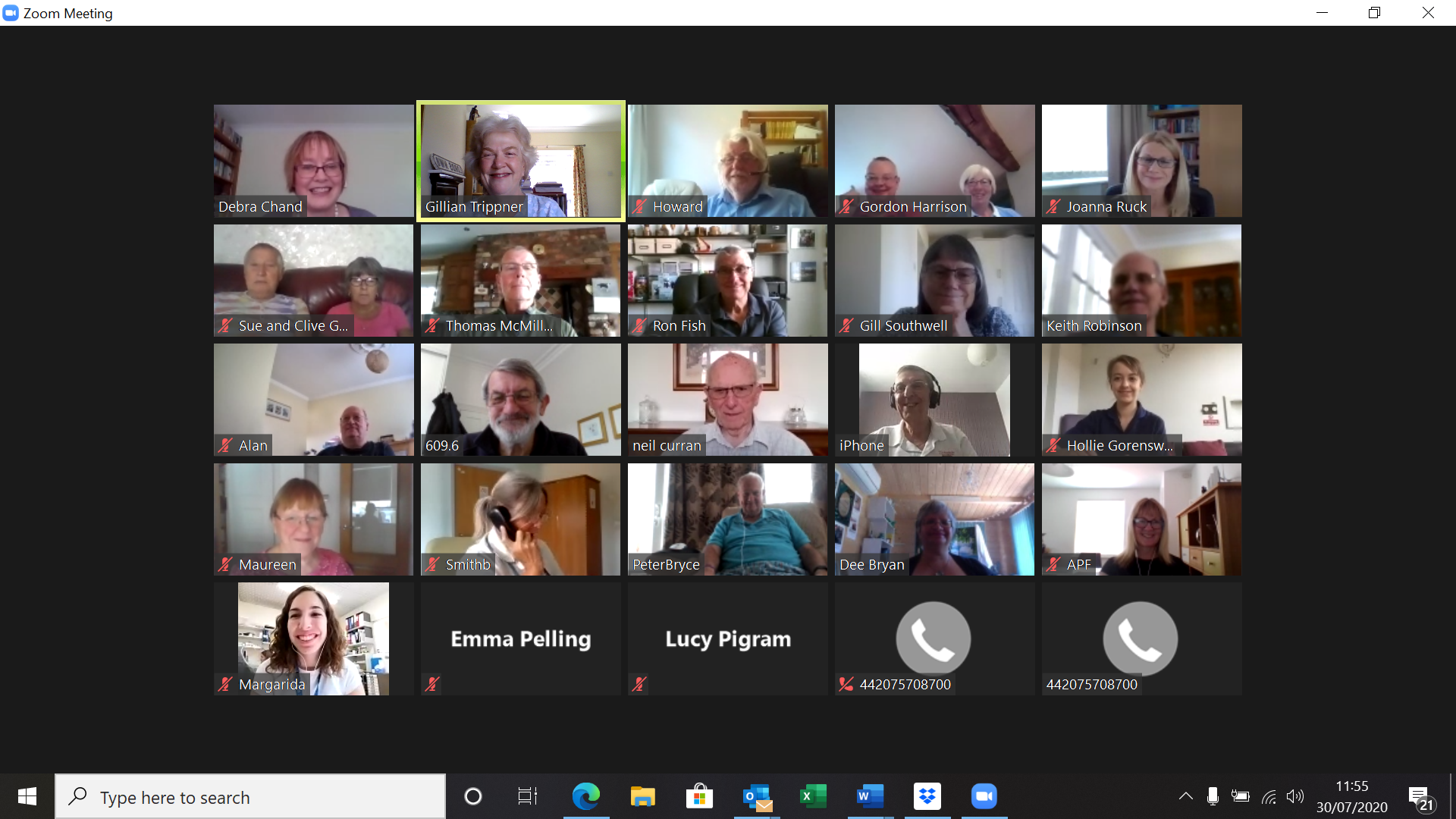 Picture of those attending the Zoom meeting