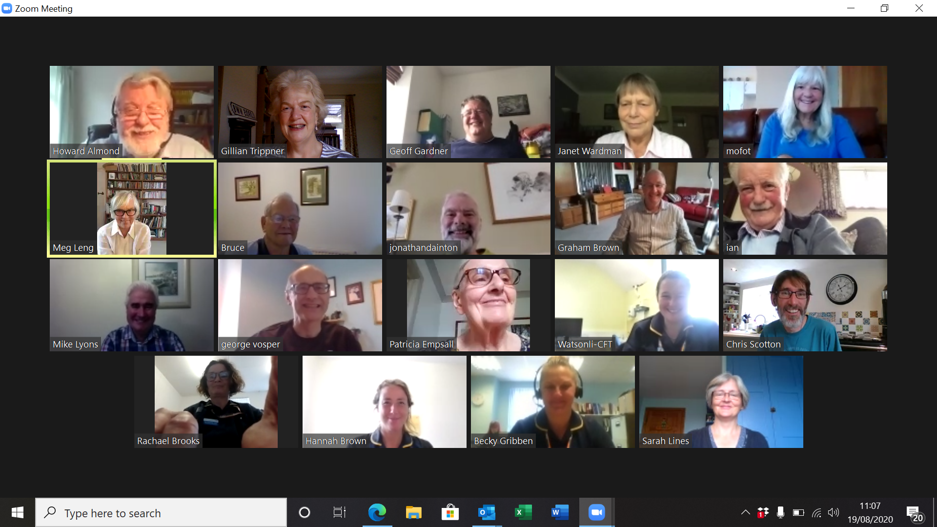South West Peninsular area Support Group Zoom meeting screenshot