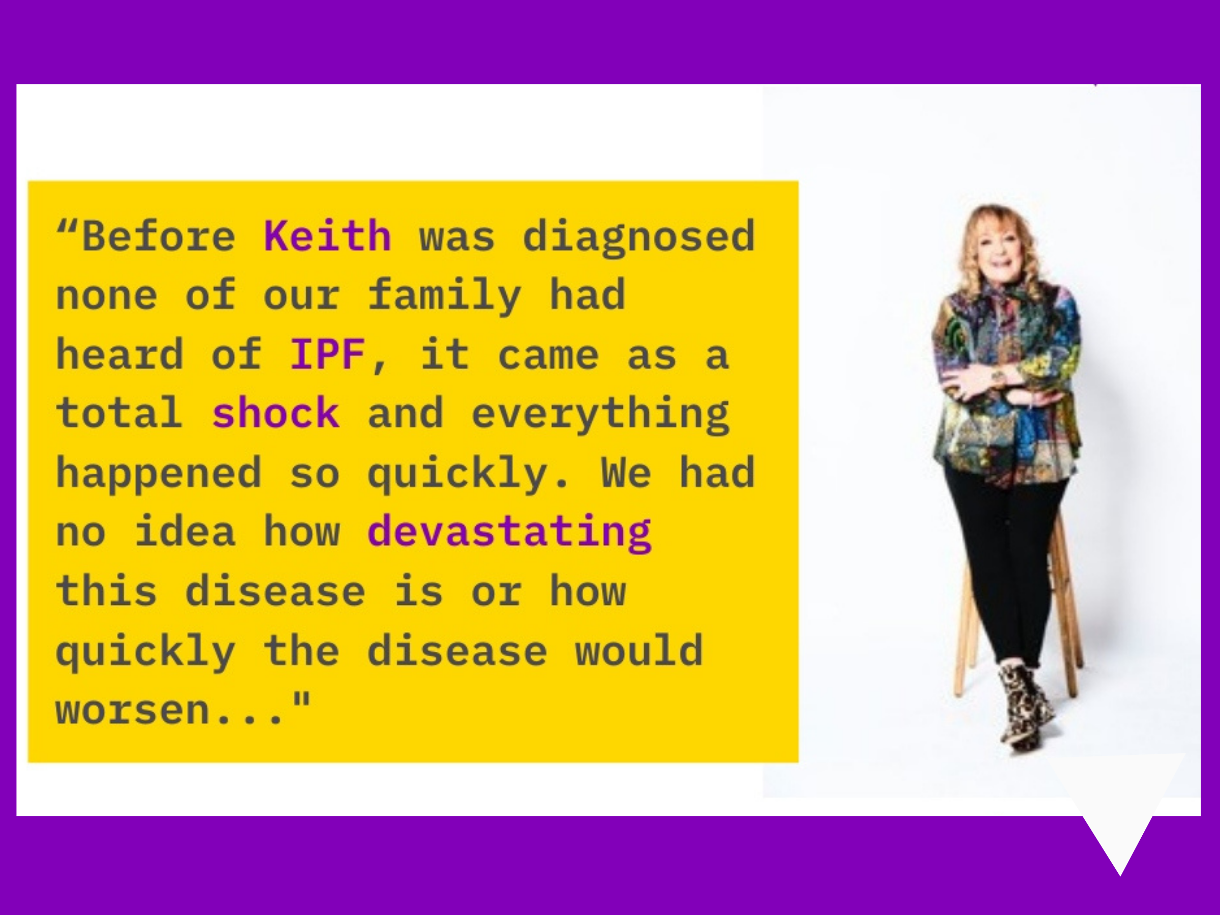 A picture of Janet discussing her families' experience of her late brother, Keith Chegwin's IPF diagnosis