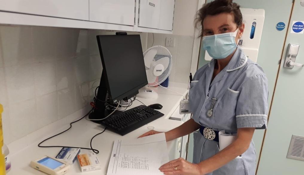 Susan working in Addenbrooke's hospital as a nurse