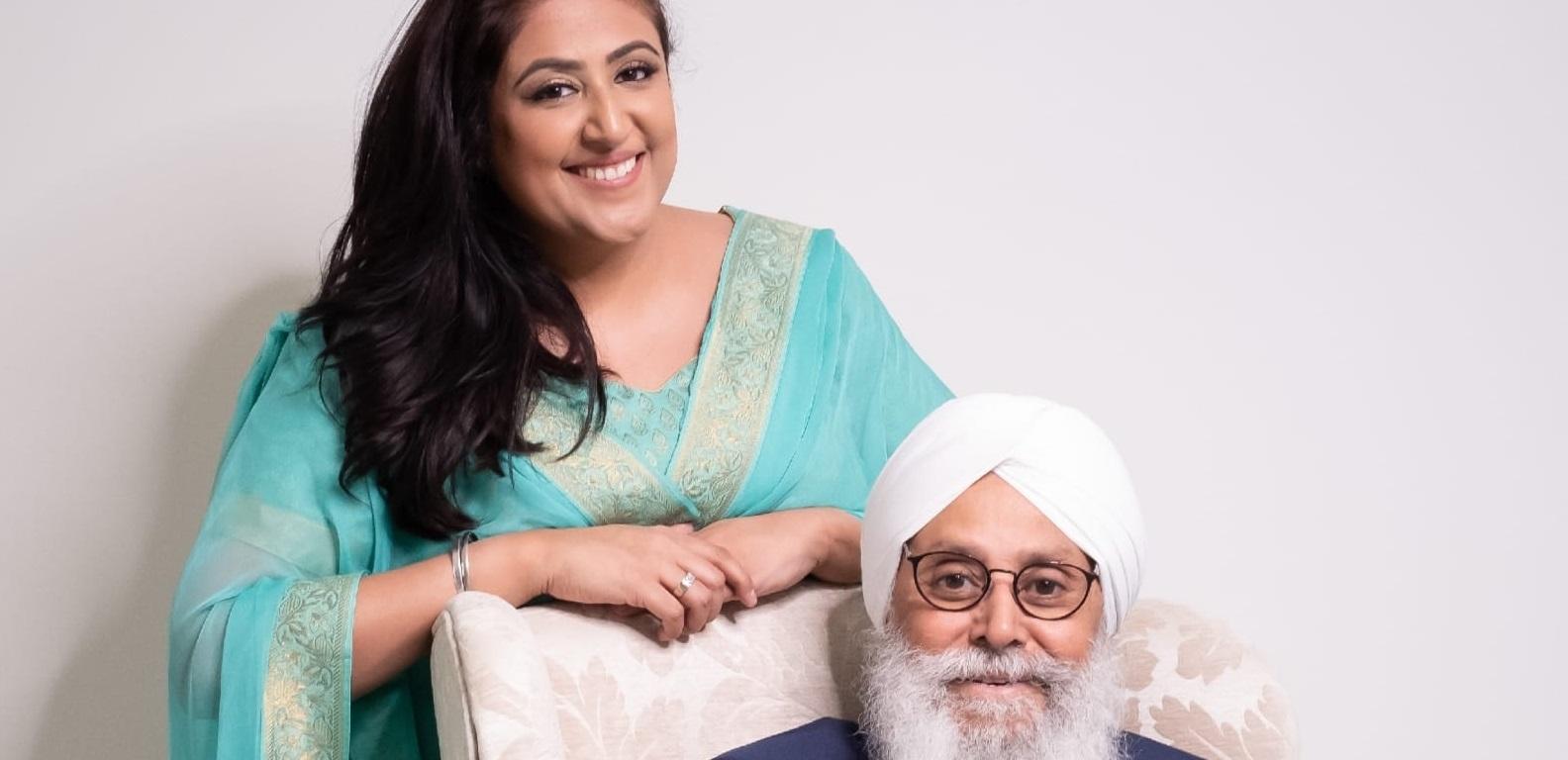 Sukh Kaur standing next to her Dad Malvinder Rao