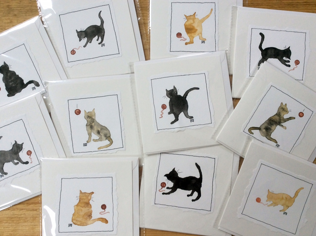 'Feline Groovy' handpainted cat greetings cards