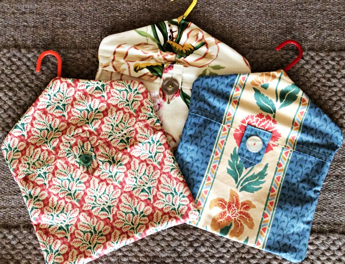 Lined fabric peg bags in lovely fabrics