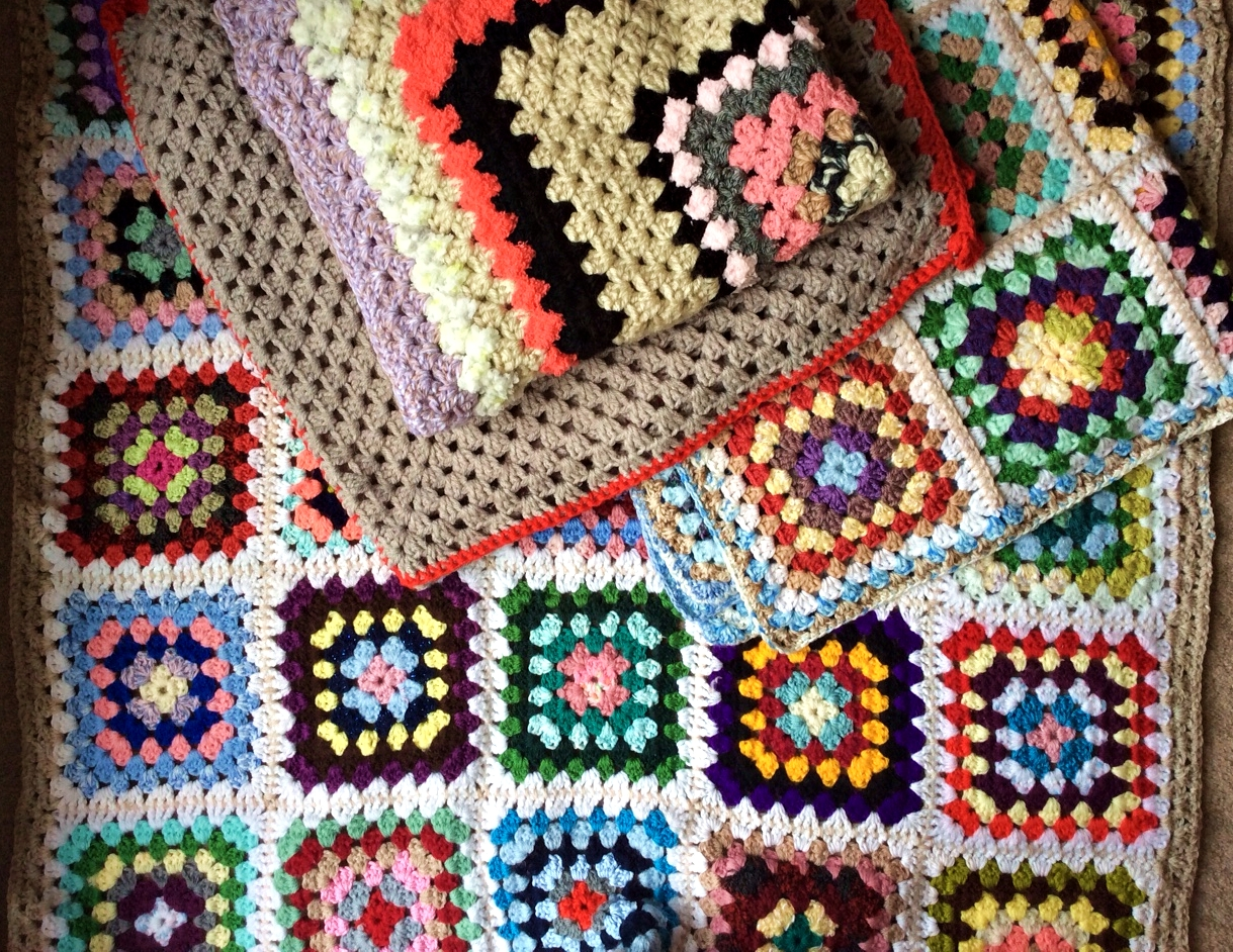 Snuggly crocheted cot and pet blankets in square designs - keep out that cold weather this winter!