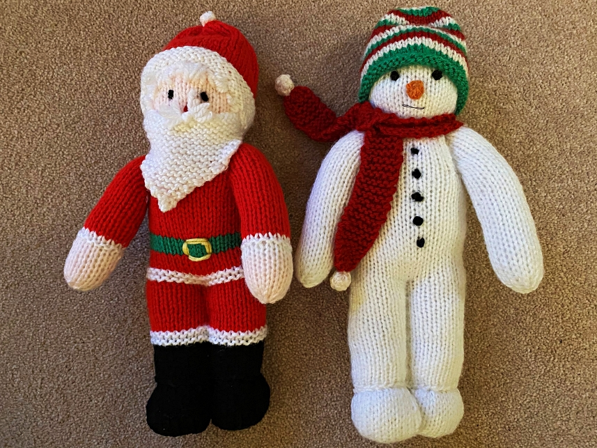 Santa and Snowman - hand knitted and ready to join you for Christmas