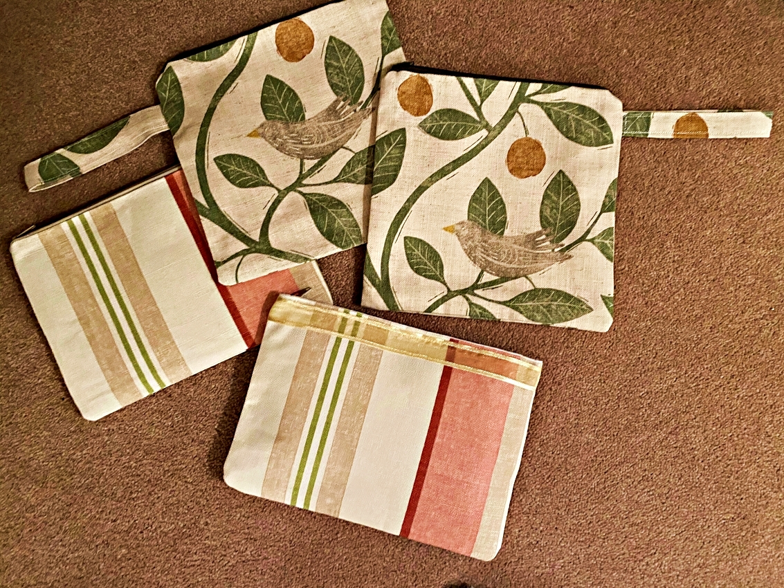 Zipped cosmetic bags in lovely fabrics