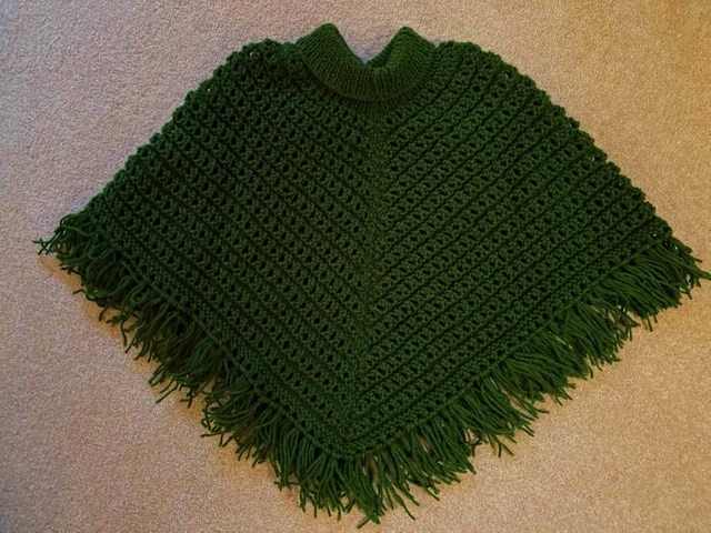SOLD! Girl's winter poncho, hand-crocheted
