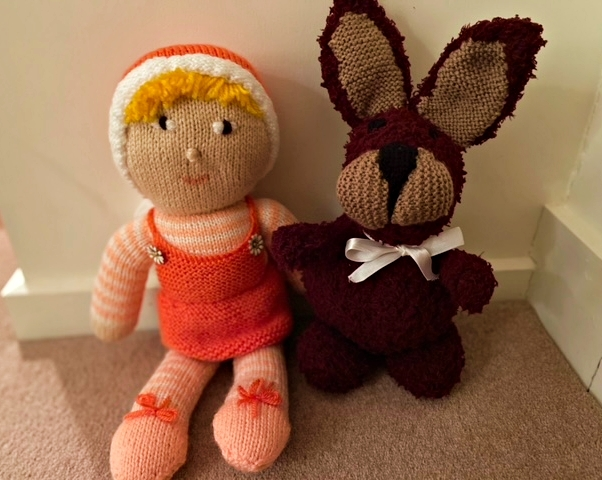 SALE! Belinda & Bernard Bunny - hand-knitted pair of pals