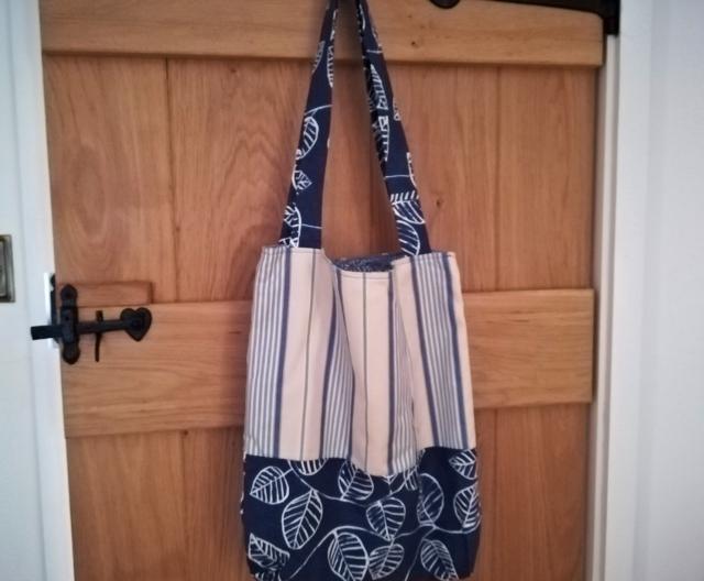 Large, lined tote bag in blue designer fabrics