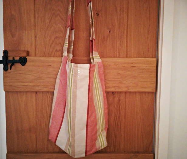Stripey tote bag - button details on both sides and handle bases and popper to close
