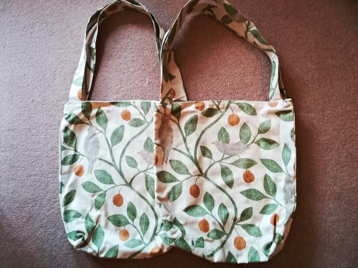 A pair of birdie tote bags - handmade in designer bird and tree fabric
