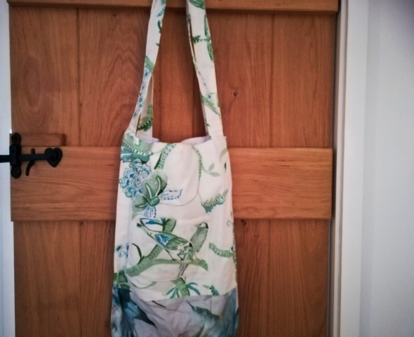 Two-tone 'designer' fabric tote bag with front pocket