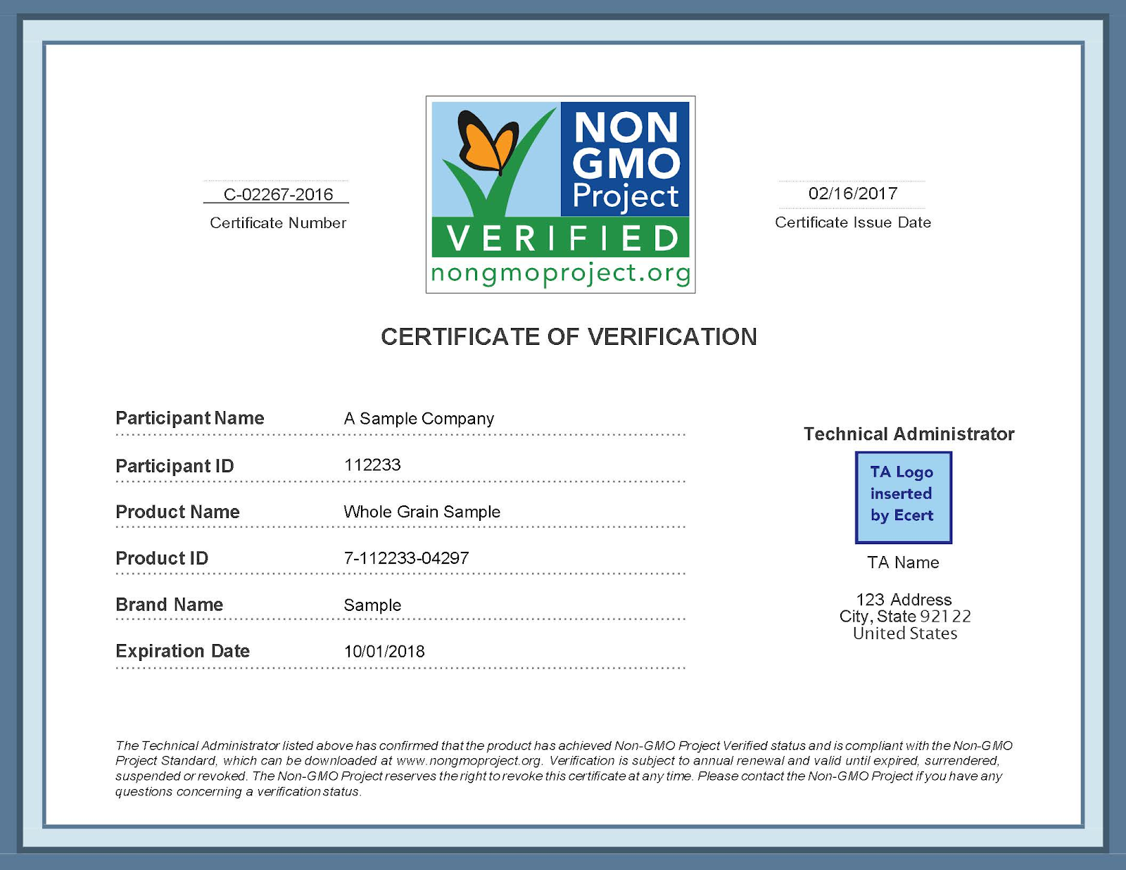 non gmo certification exampleo