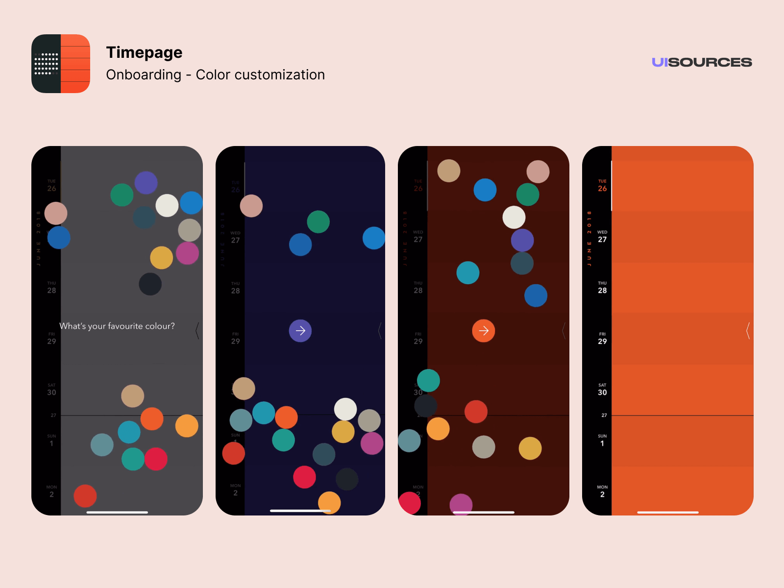 Pick your favourite color to customize the app