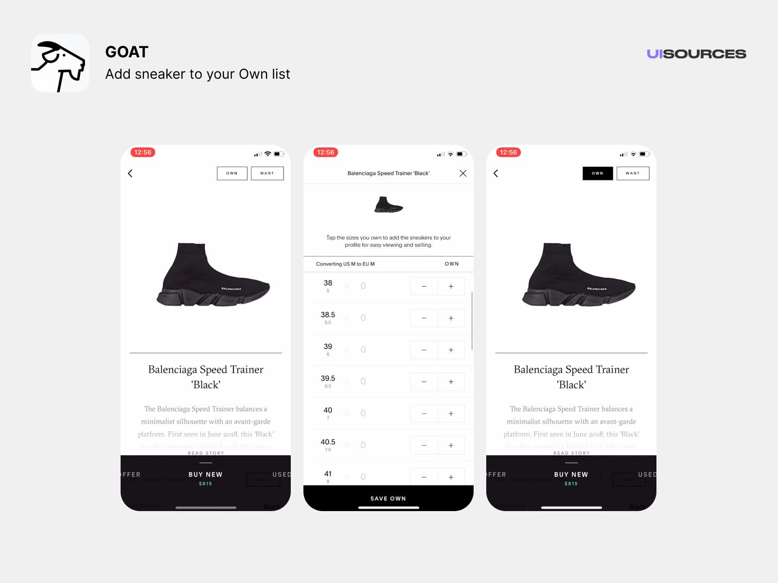 Add sneaker To Own list