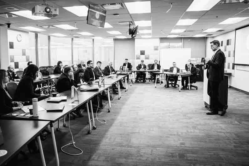 Saga NFG CEO Nebojsa Bjelotomic speaks at the Weaver AI Chatbot conference, Telfer School of Magement, University of Ottawa