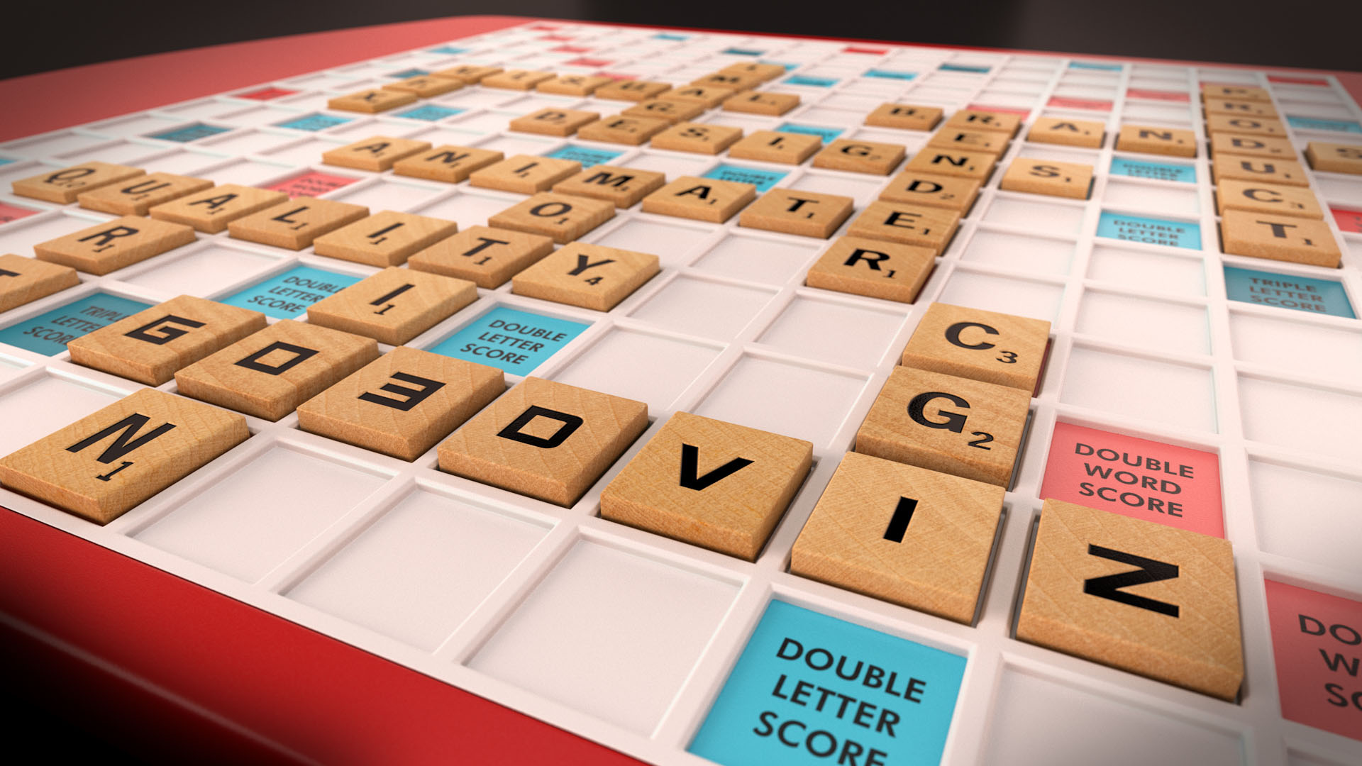 Custom scrabble board 3D rendering for Go3DViz's services