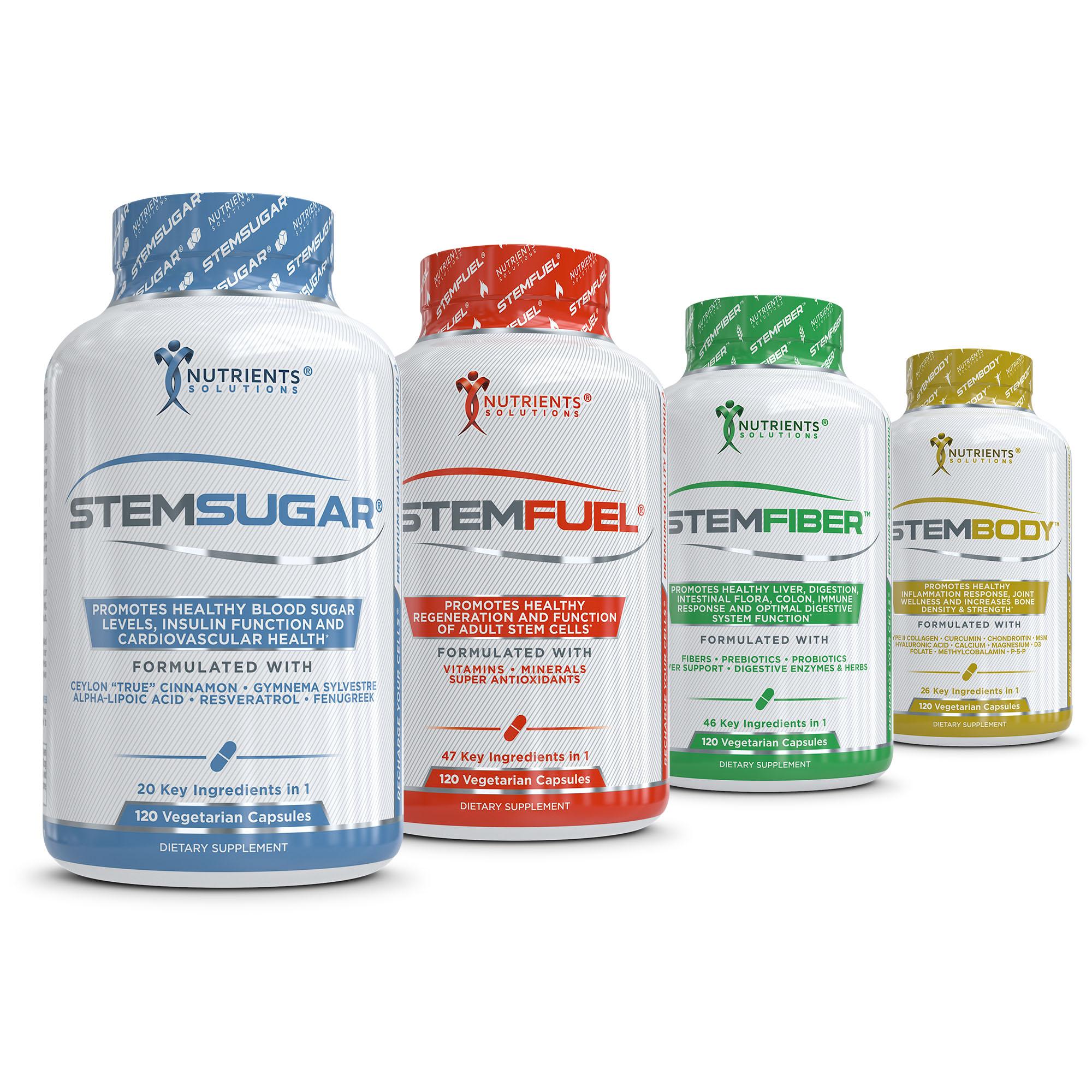 Nutrient shrink label bottles arranged on white background