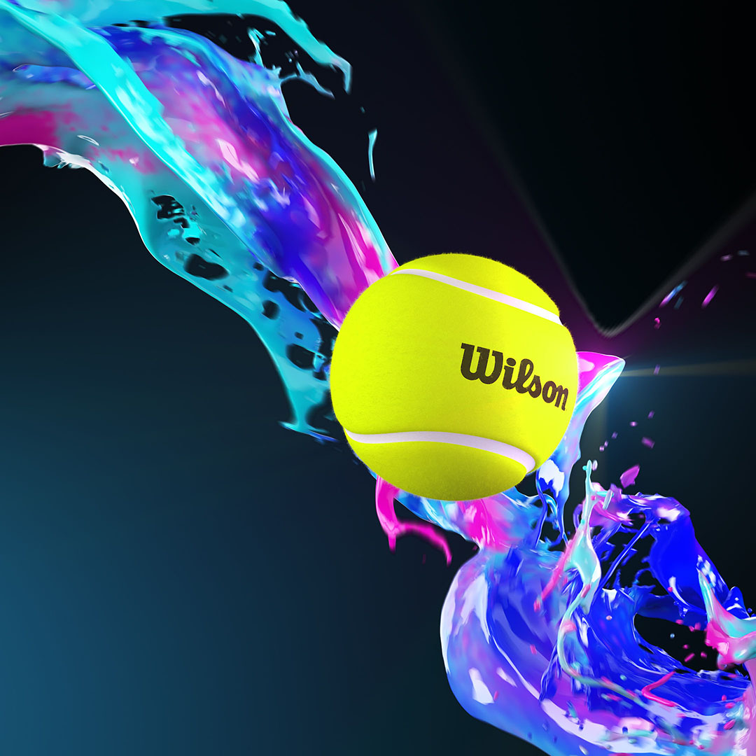 3D rendering of a Wilson tennis ball on a dark background with paint style fluid effects