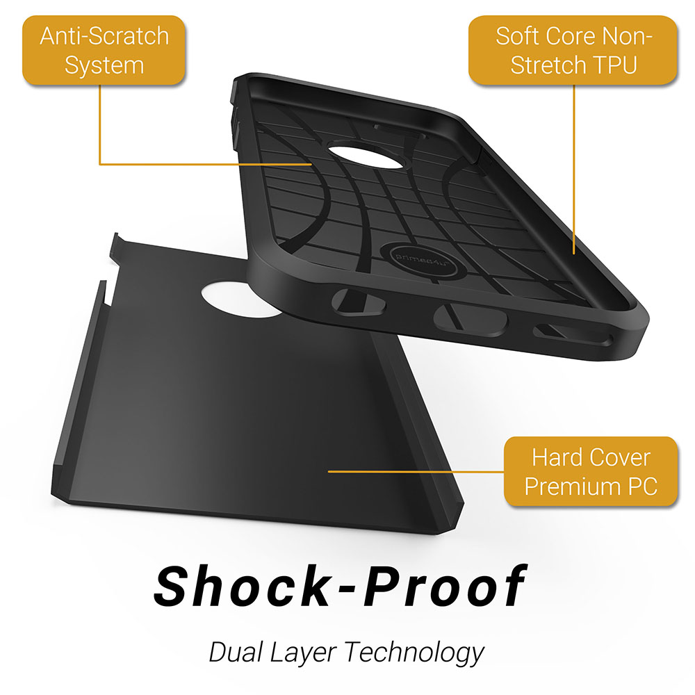 Phone case info-graphic rendering demonstrating its shockproof design