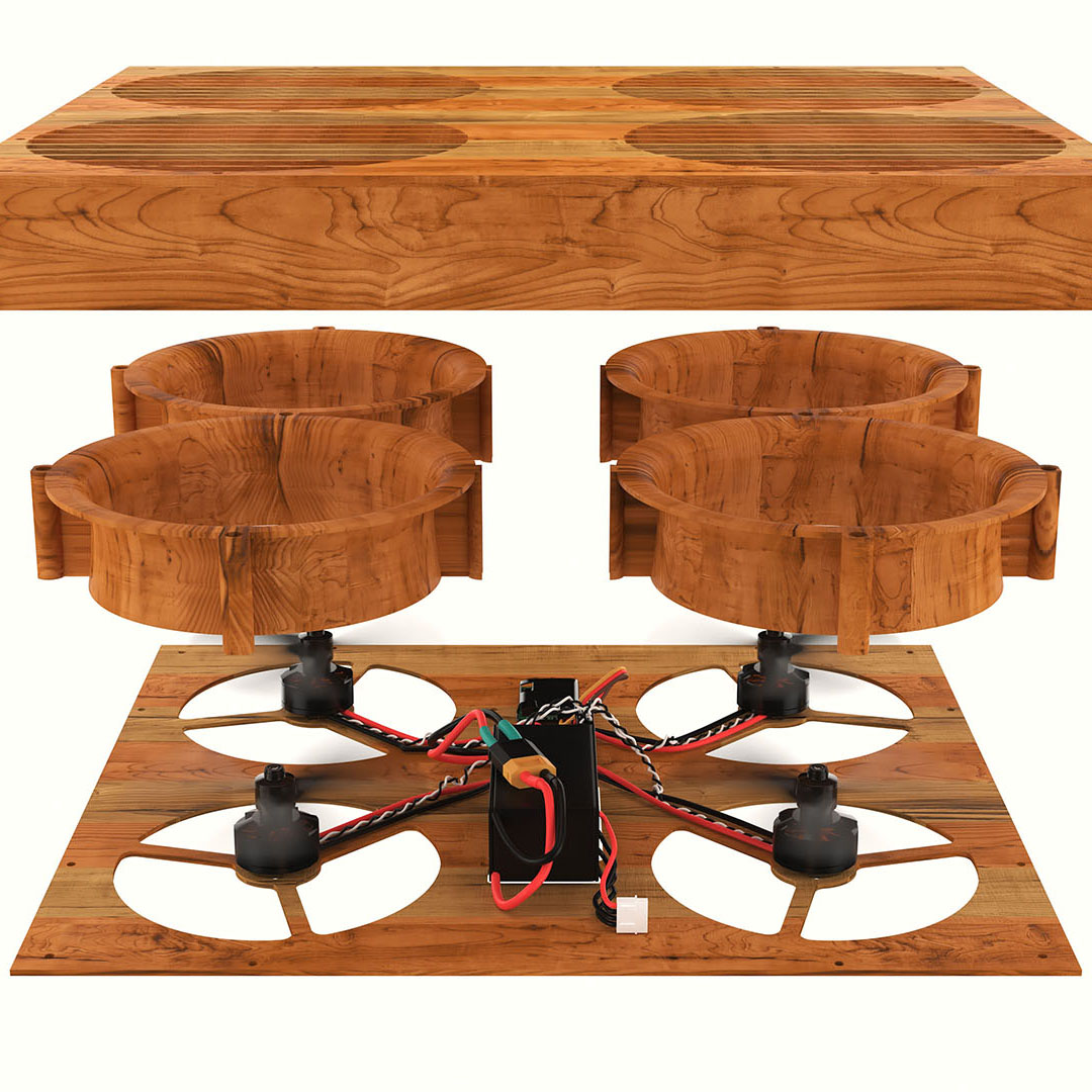 Drone chopping block break-apart 3D product rendering