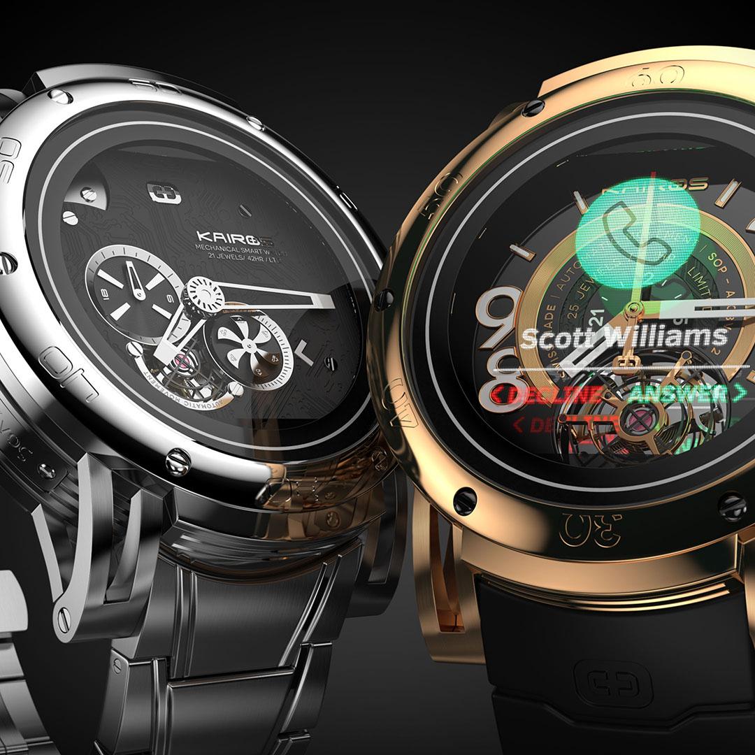 Kairos hybrid smartwatch 3D rendering