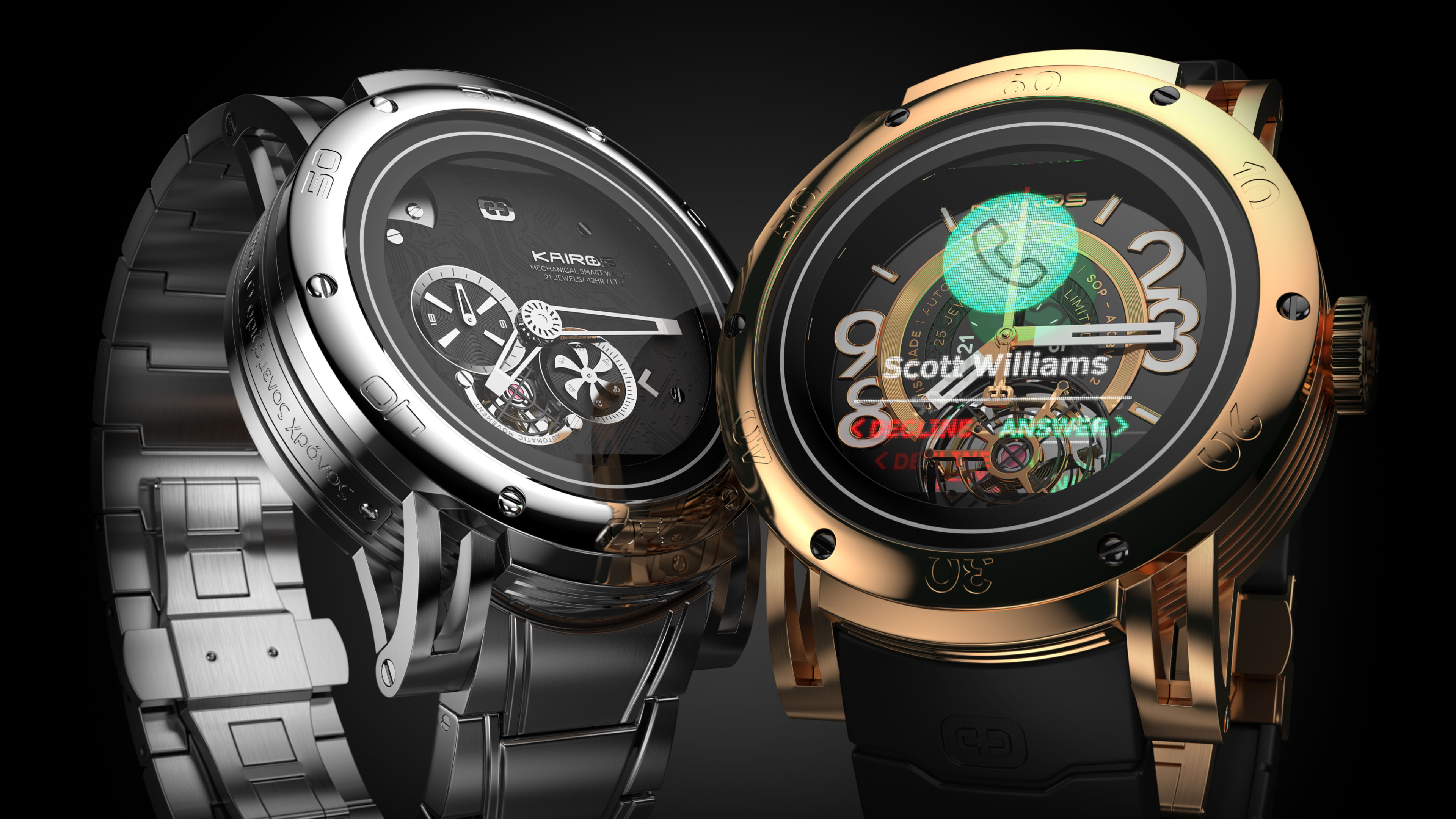 Kairos Hybrid Smart-Watch metal MSW and gold SSW rendering on black background