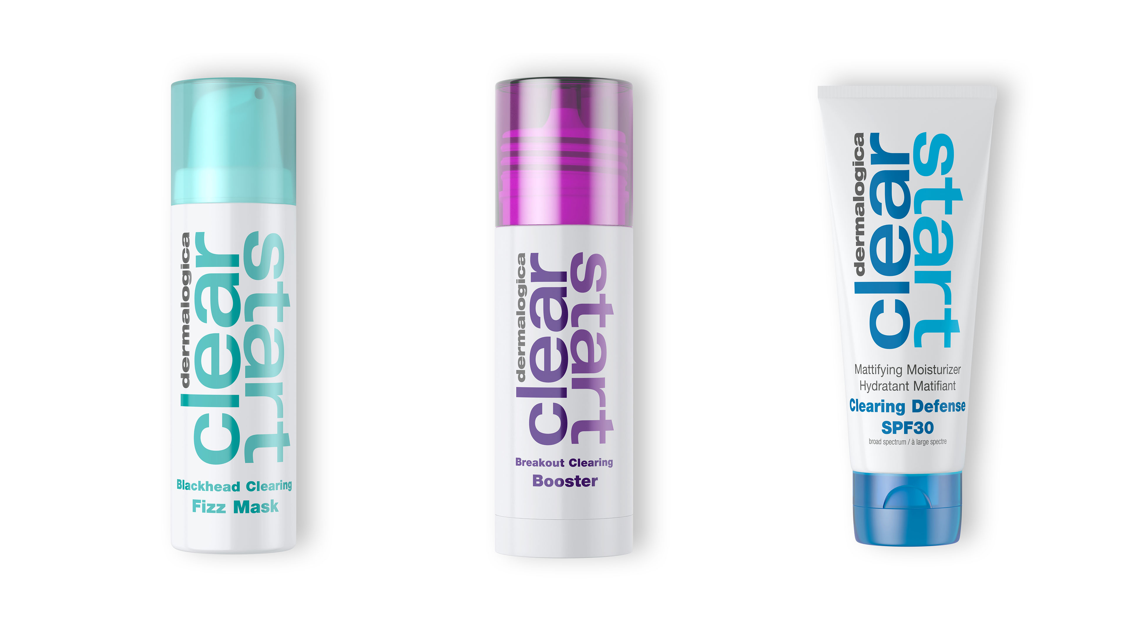 Dermalogica Fizz Mask, Booster, and Clearing Defense product packages