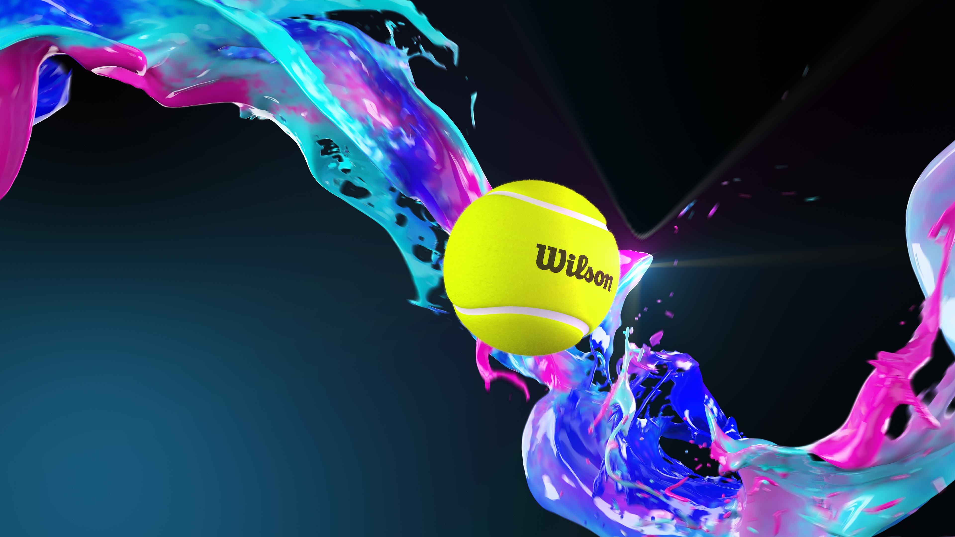 Wilson tennis ball 3D visualization with fluid effects on blue background
