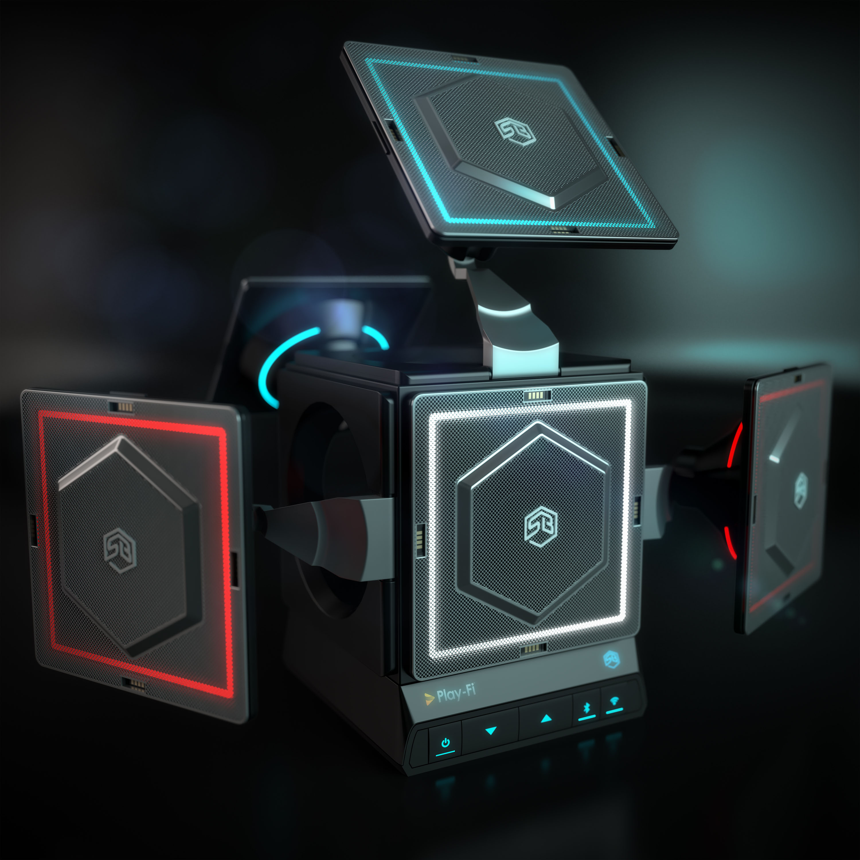 Sonic Blocks modular speaker system 3D rendering on dark background with lens glare effects