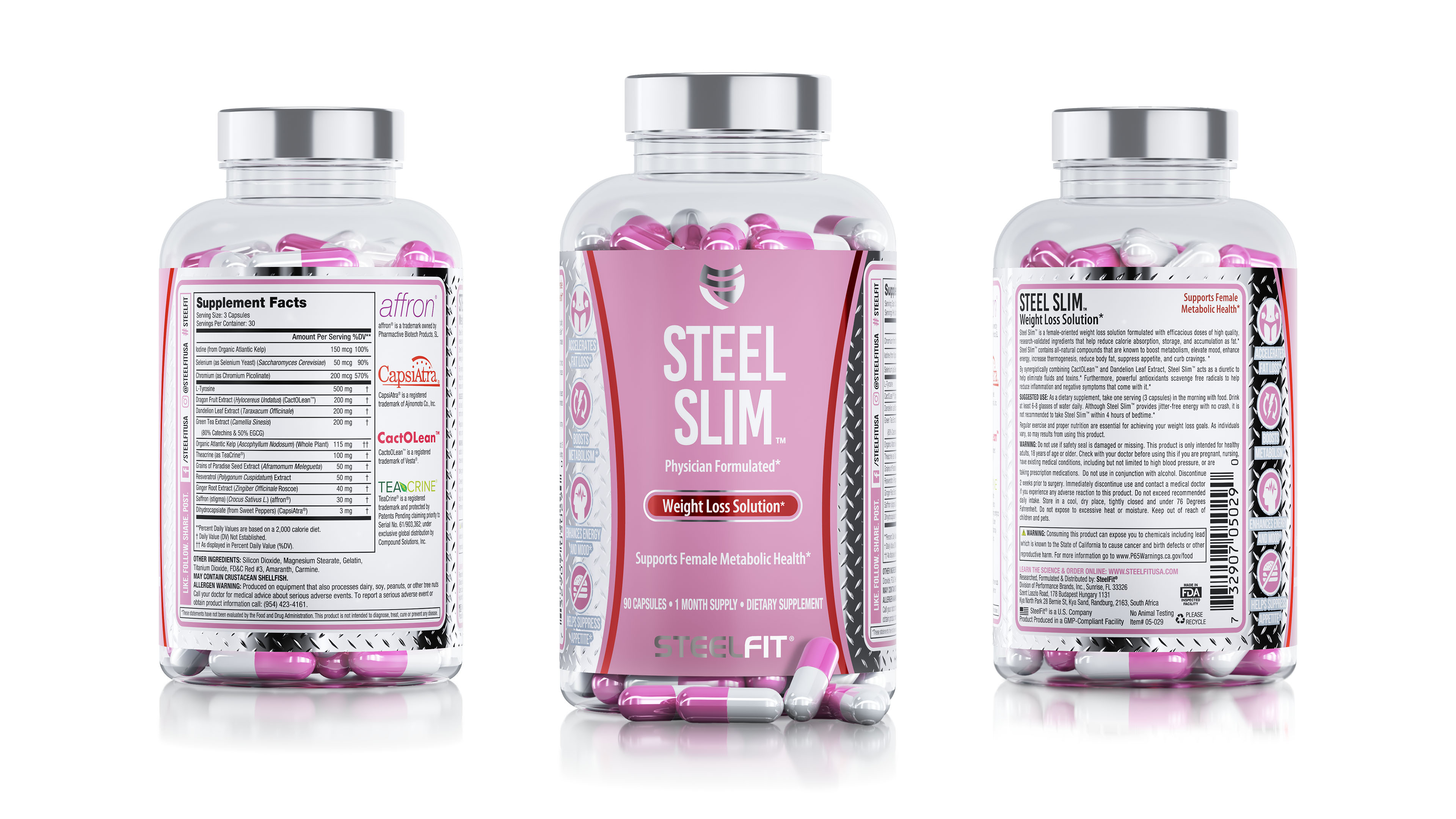 Steel Slim nutrition capsule container package renderings