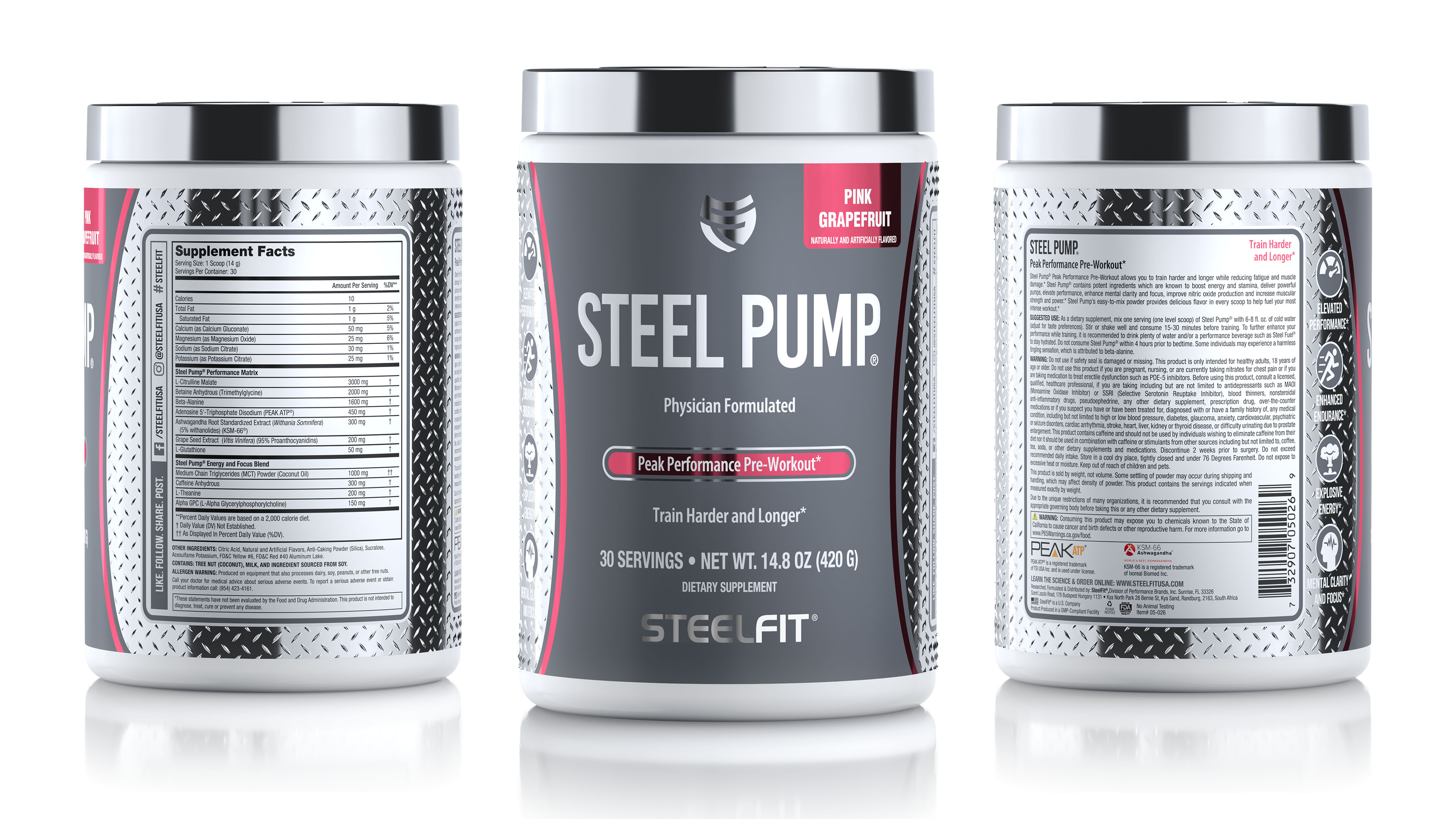 Steel Pump nutrition capsule container package renderings