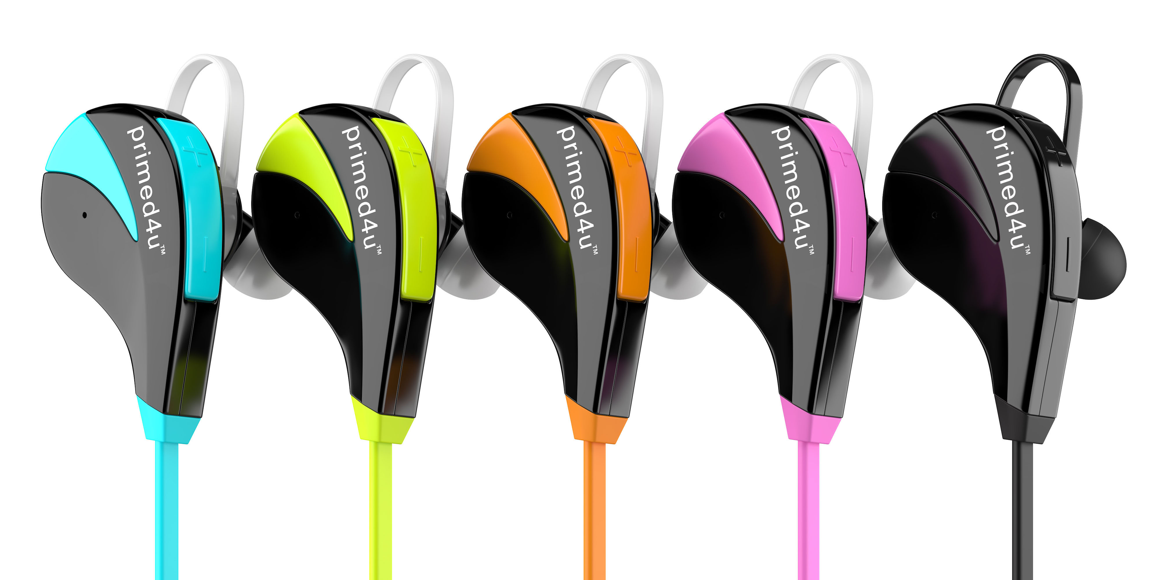 Primed4U headphones lined up in blue, green, orange, purple, and black colors