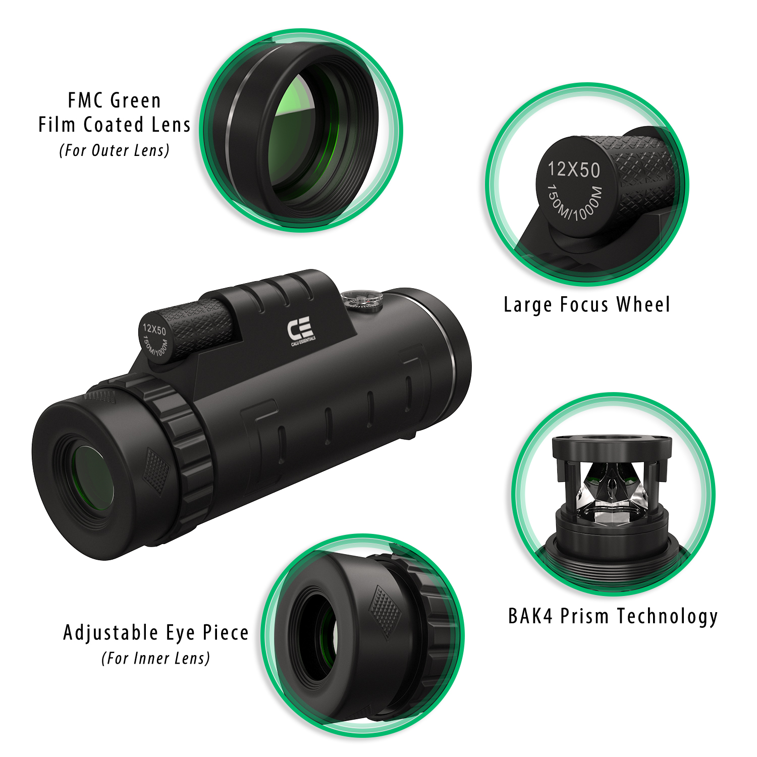 Monocular telescope info-graphic style rendering highlighting product features