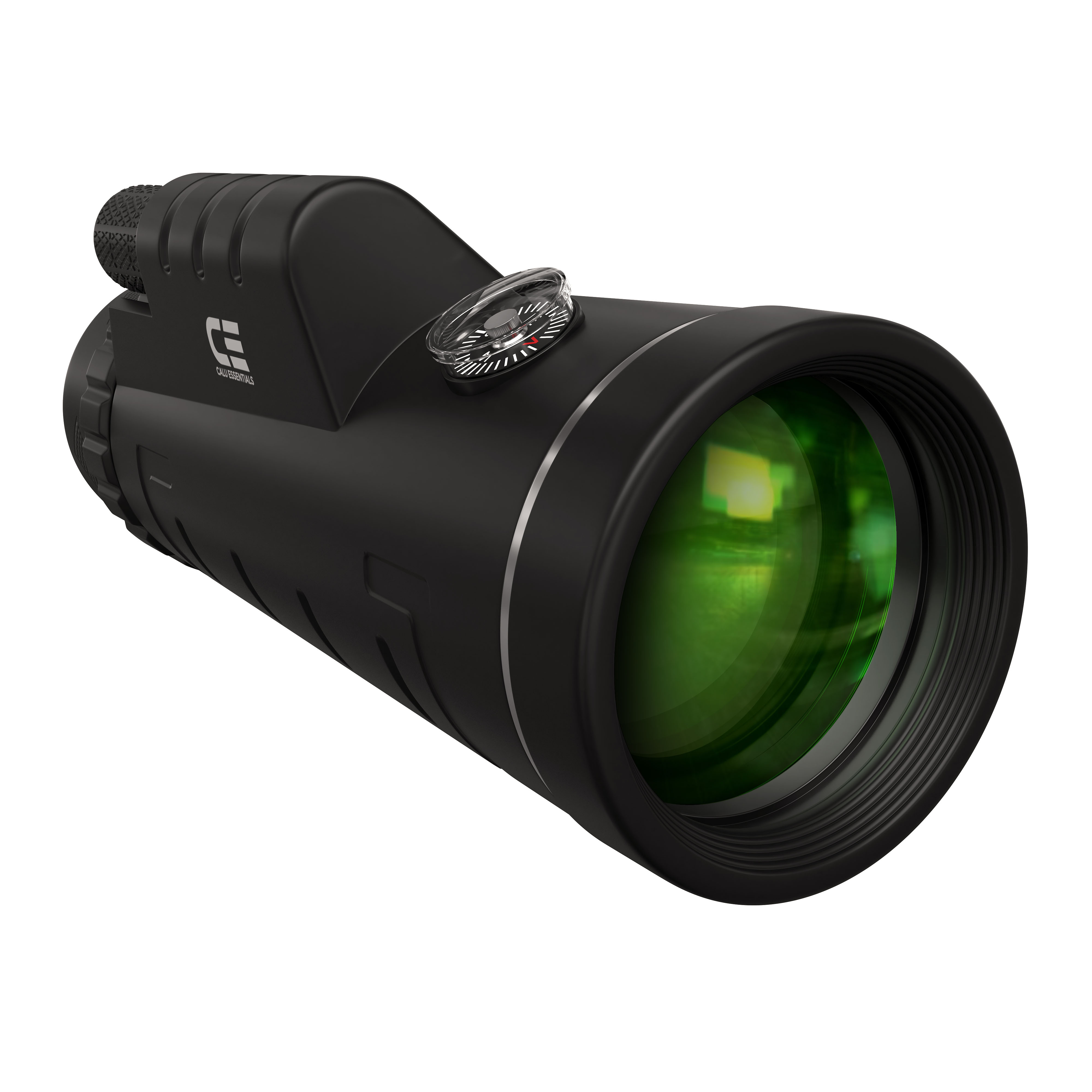 Monocular telescope with green lens and compass