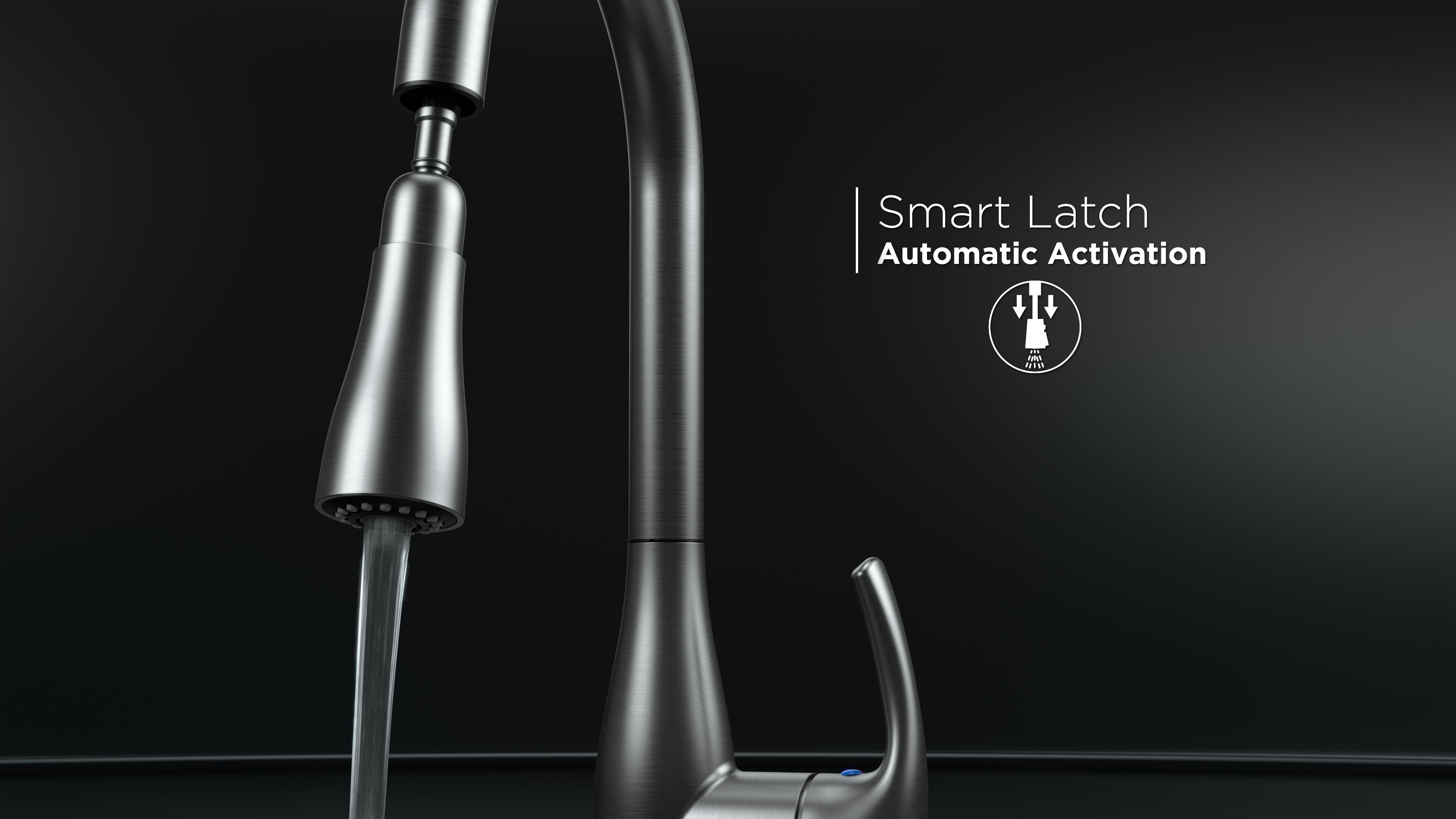 Flow faucet 3D rendering with smart latch feature