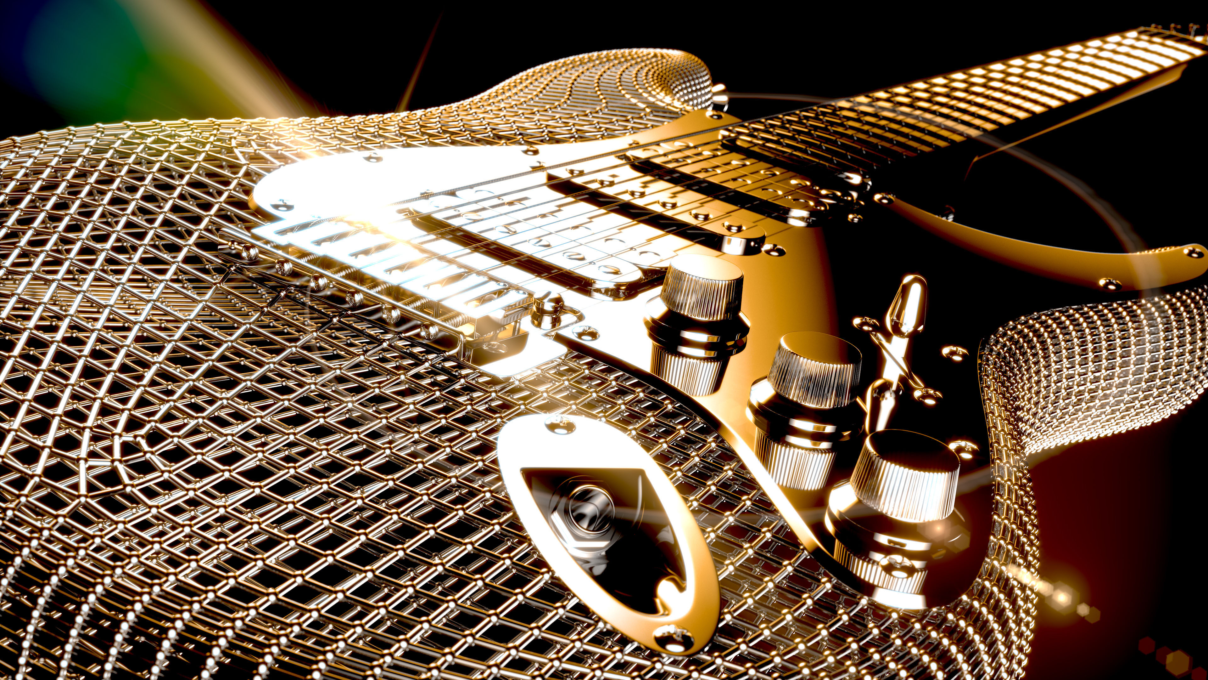 Electric guitar concept rendering with mesh body gold frame and lens effects