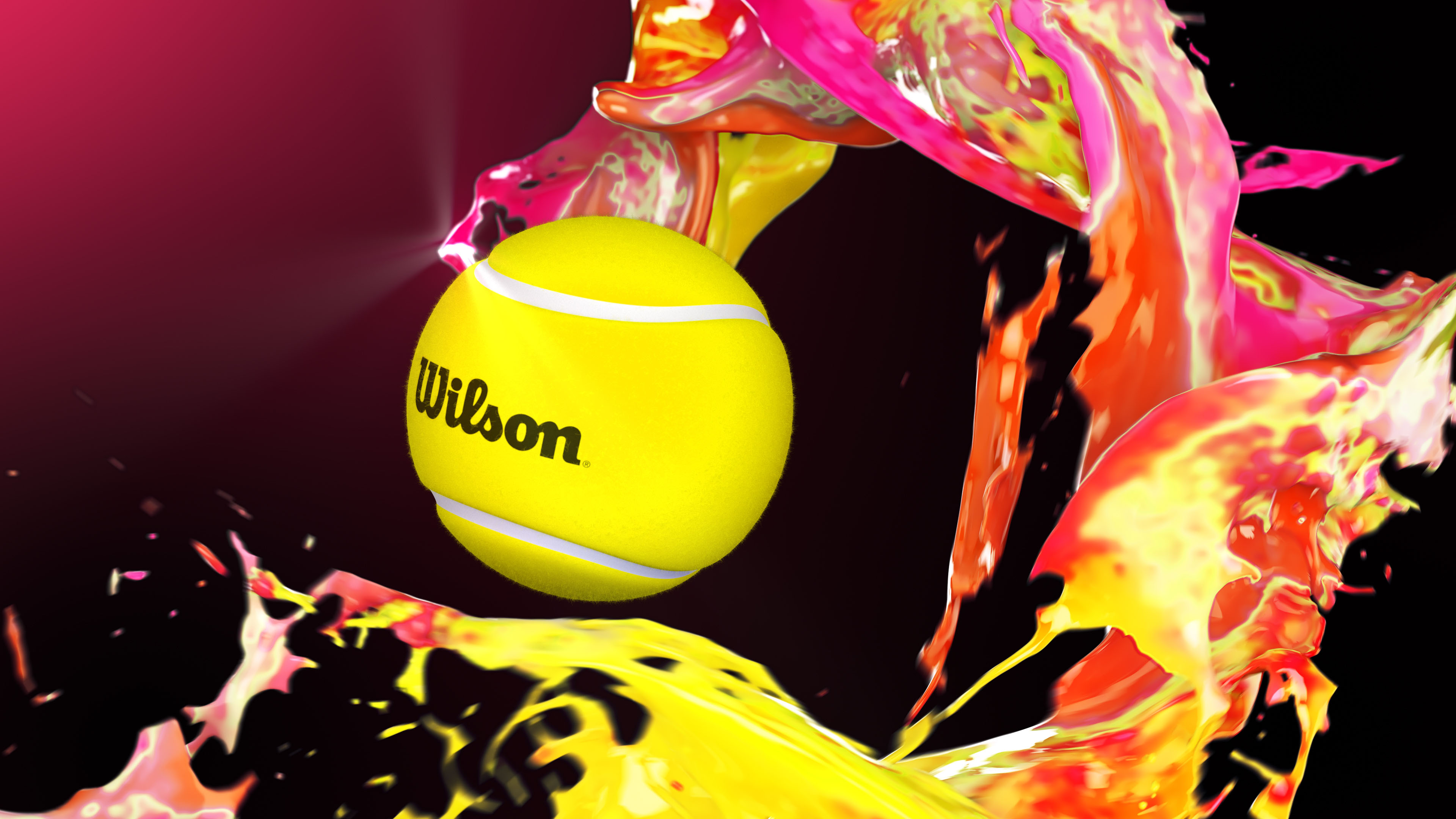 Wilson tennis ball 3D visualization with fluid effects on red background