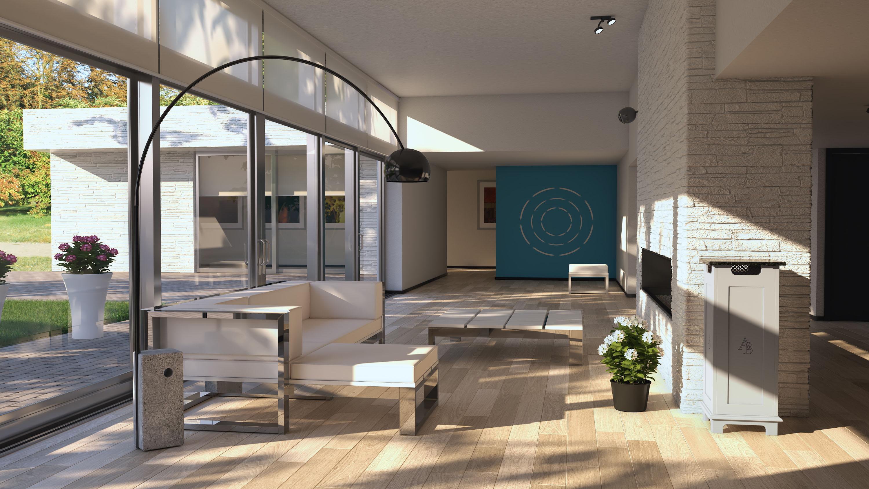 Austin Airbox white air purifier in office environment