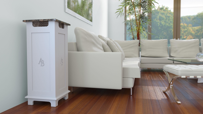 Austin Airbox white air purifier in living room environment