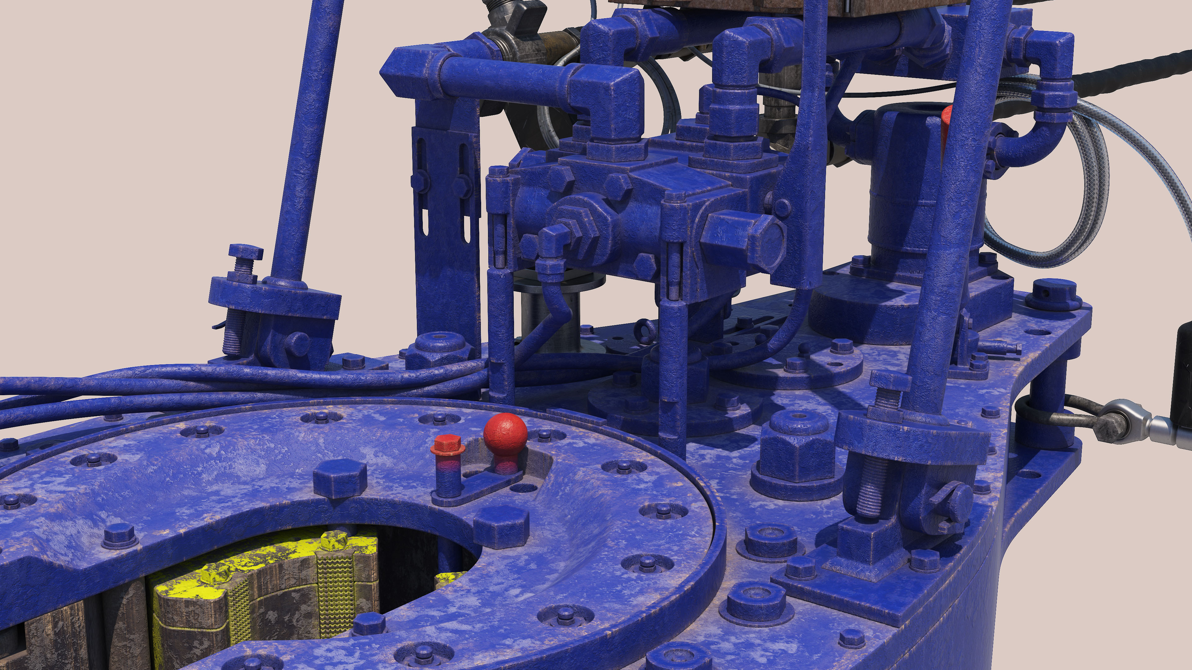 Drilling tong 3D model and textured rendering