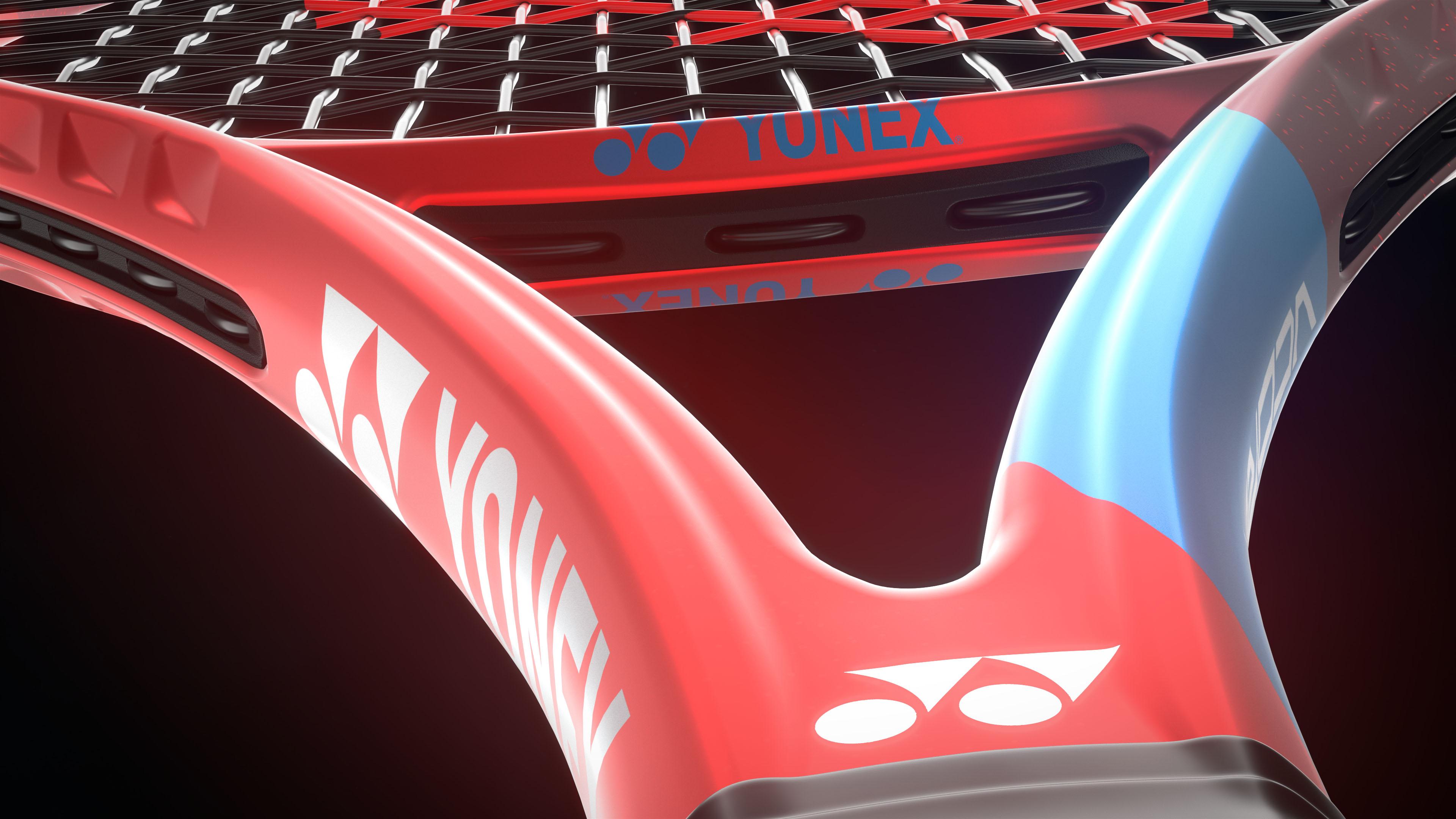 Yonex tennis racket close-up 3D rendering