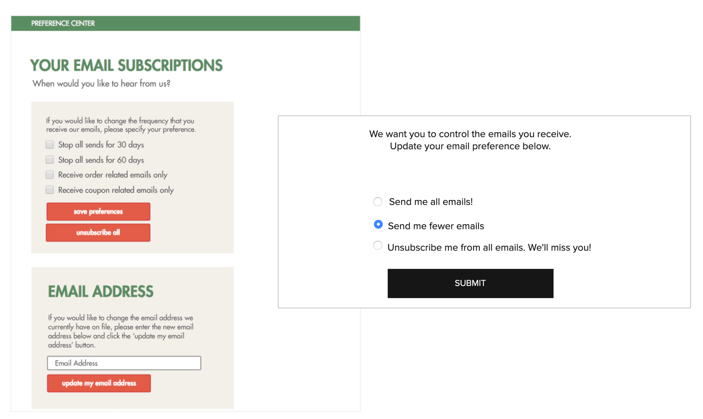 Email preference center pause subscription
